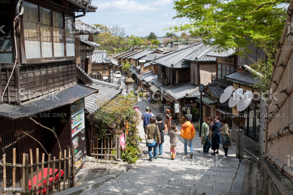 Street view of old town Kyoto in spring stock photo