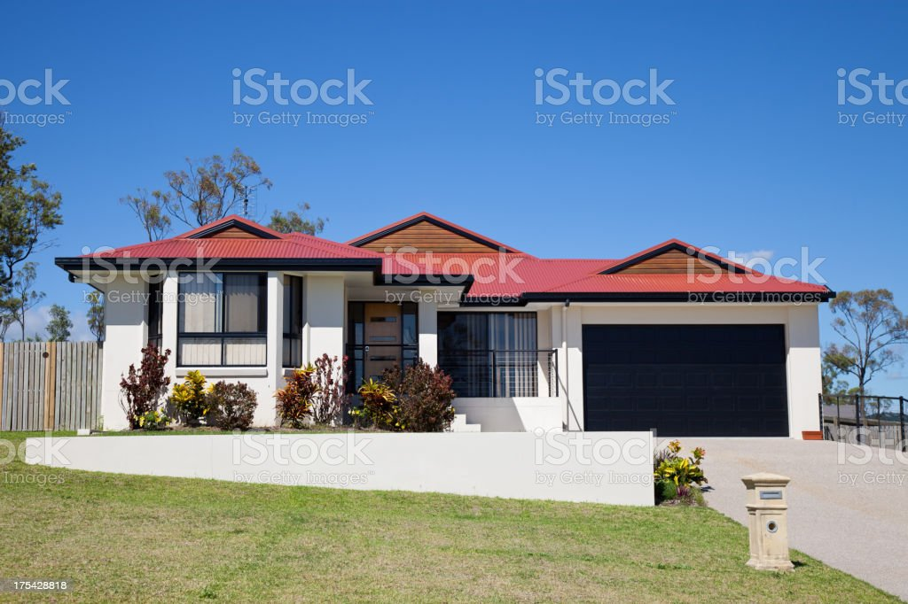 Street view of one story house stock photo