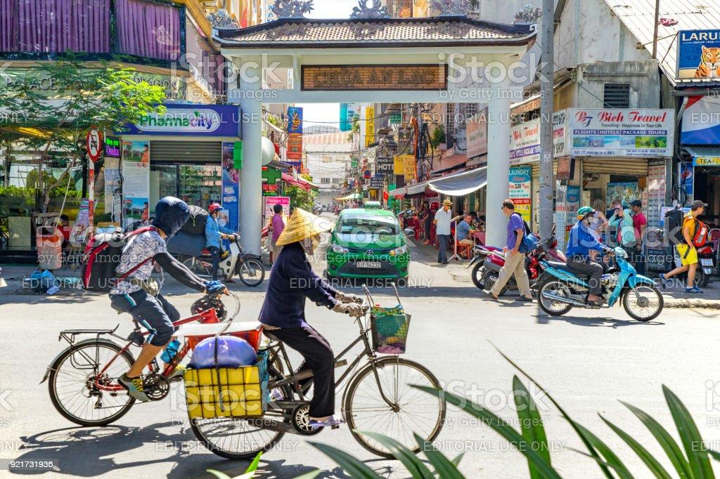 street view of Pham Ngu Lao street, Vietnam stock photo