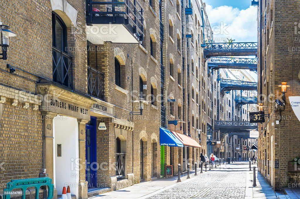 Street View of Shad Thames in London stock photo