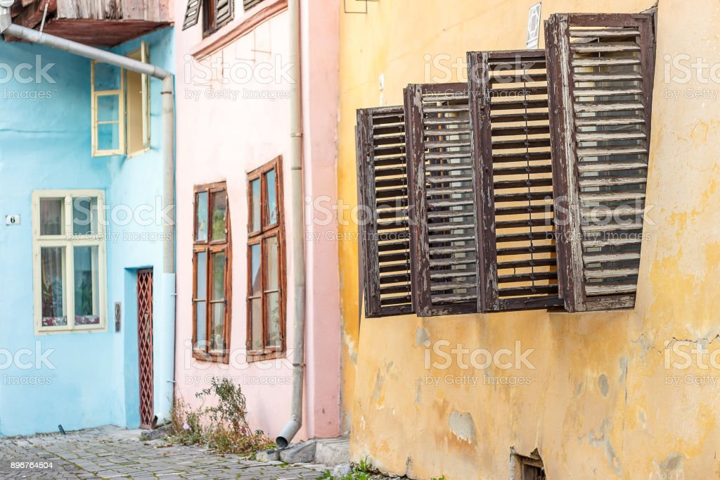Street view of Sighisoara with colorful little houses stock photo