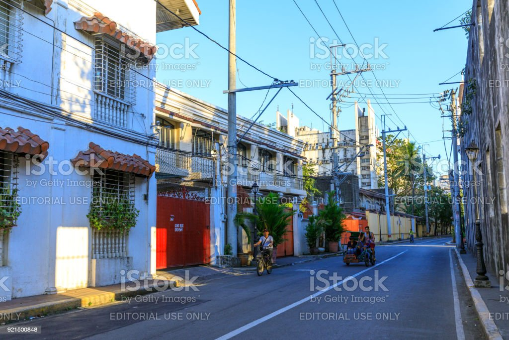 Street view of Spanish colonial Intramuros district in Manila, Philippines stock photo