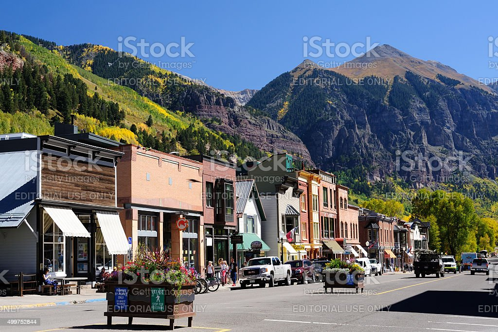 Street View of Telluride in Colorado stock photo