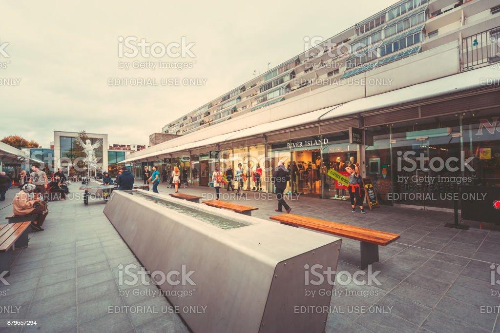 Street view of The Brunswick Center,  London stock photo