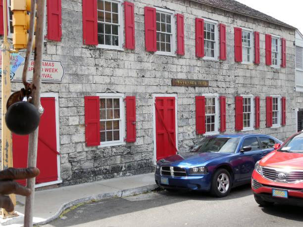 Street view of The Magna Carta Court, Nassau, Bahamas. stock photo