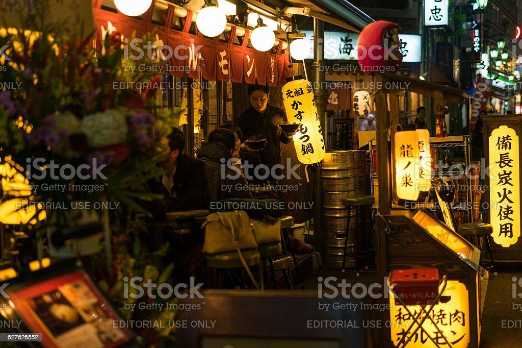 Street view of the Shinjuku district of Tokyo stock photo