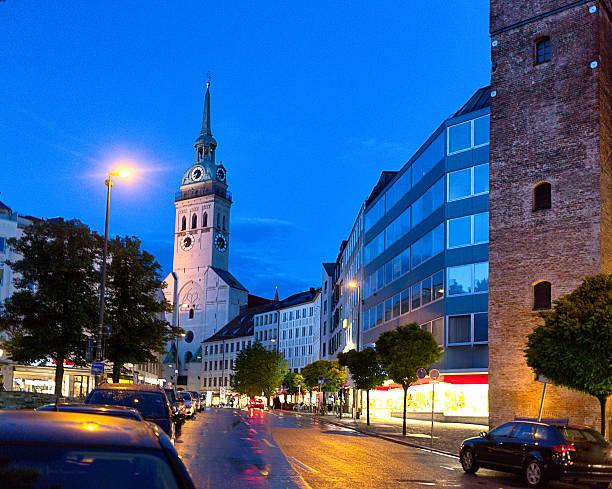 street view of the st peters church clock tower - sankt peterskyrkan münchen bildbanksfoton och bilder