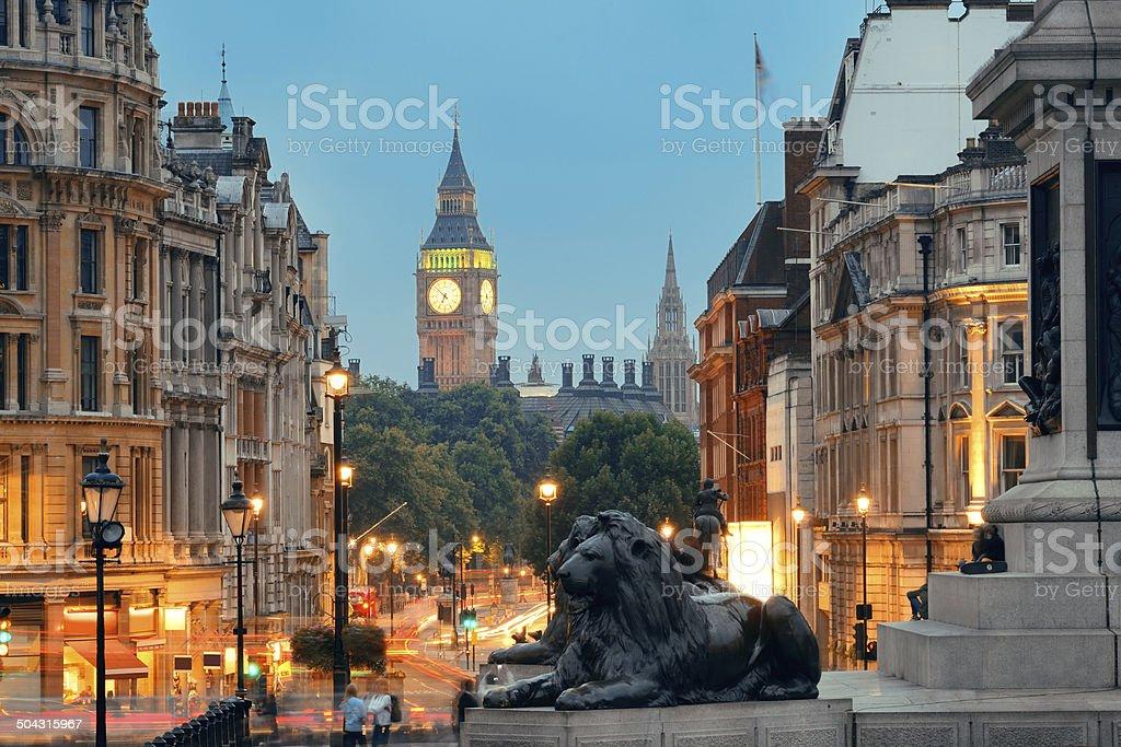 Street view of Trafalgar Square stock photo