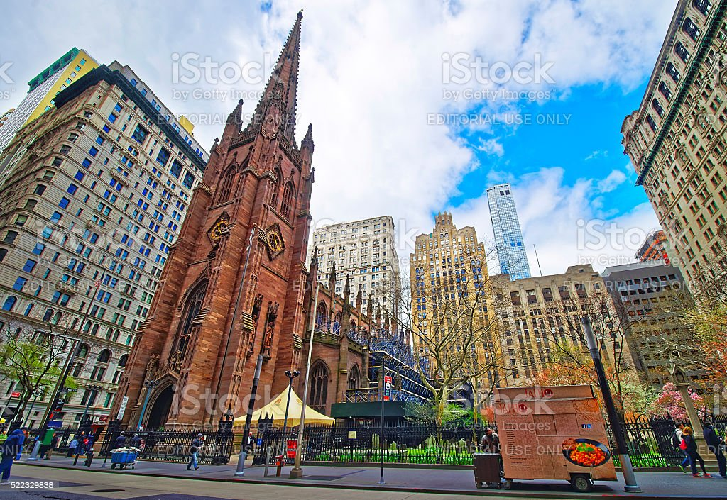 Street view of Trinity Church in Lower Manhattan stock photo