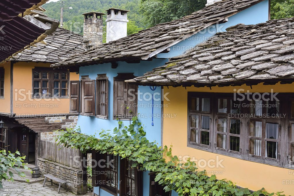 Street view of typical old Bulgarian architecture, Etara, Bulgaria stock photo