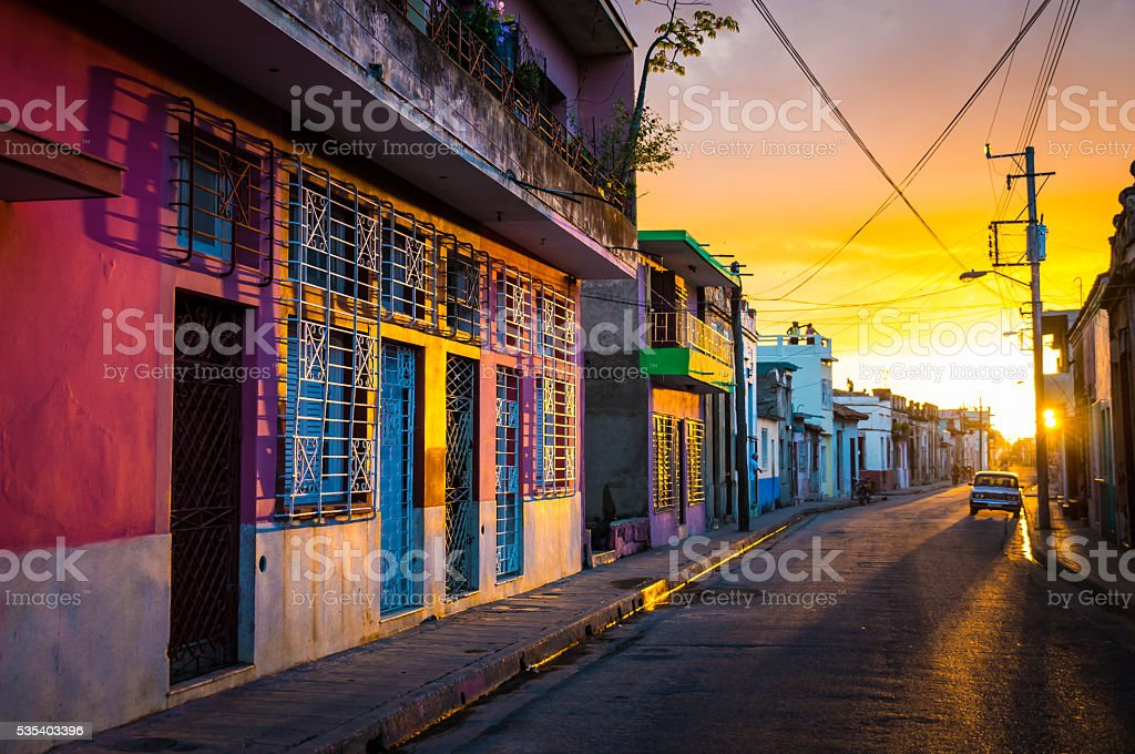 CAMAGUEY, CUBA - Street view of UNESCO heritage city centre stock photo