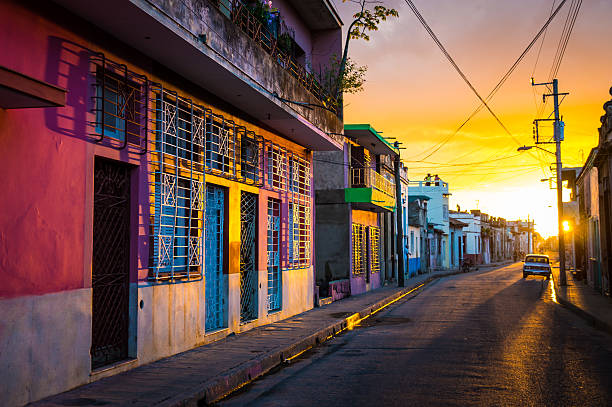 camaguey, cuba - street view of unesco heritage city centre - cuba stock photos and pictures