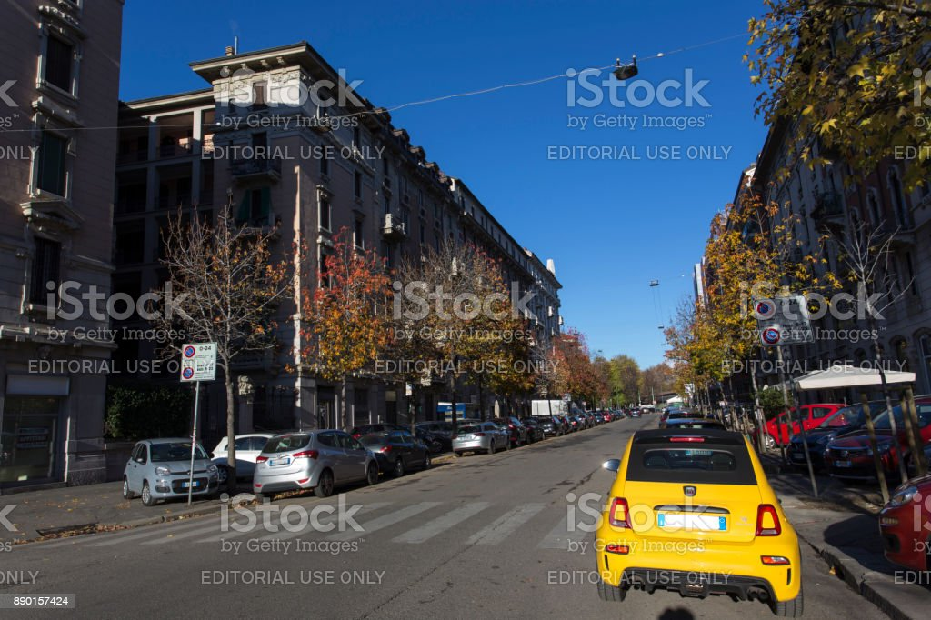 Street View Of Via Garigliano In Milan Zone Isola Stock ...