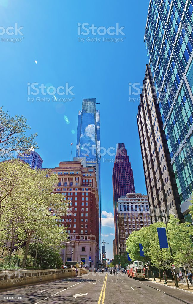 Street view on Penn Center and skyline with skyscrapers stock photo