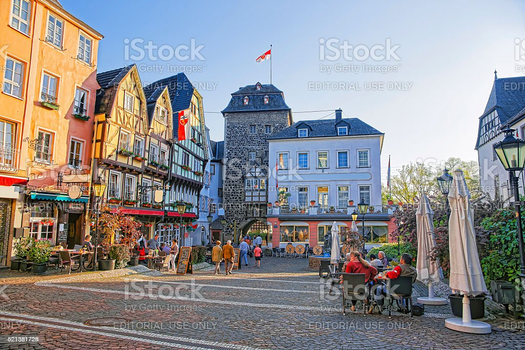 Street view on Rhientor on Burgplatz in Linz am Rhein stock photo