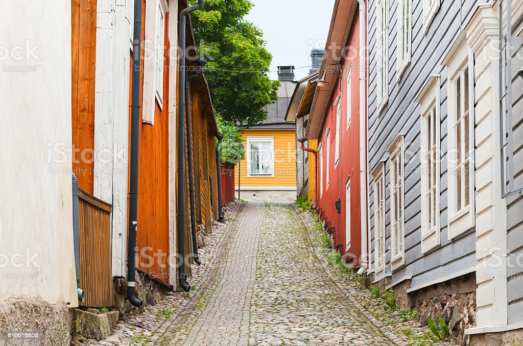 Street view perspective of Porvoo, Finland – Foto
