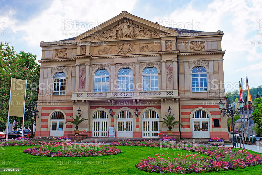 Street view to Baden-Baden Theater stock photo