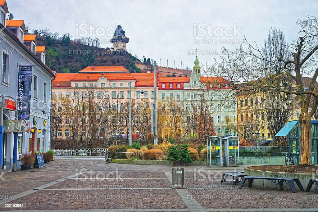 Street view to Clock tower of Castle Hill in Graz stock photo