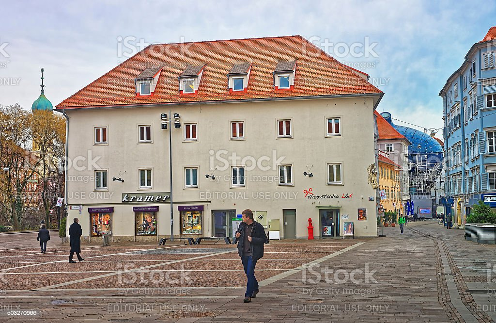 Street view to Franciscan Church and Graz Art Museum stock photo