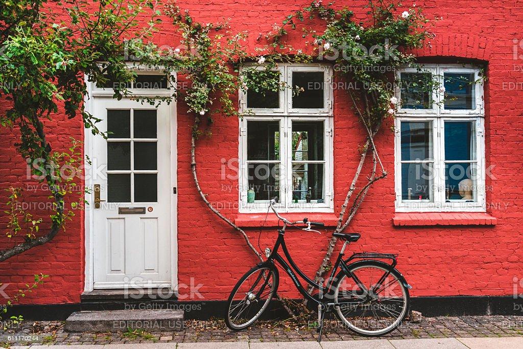 Street, wall and bike in Copenhagen