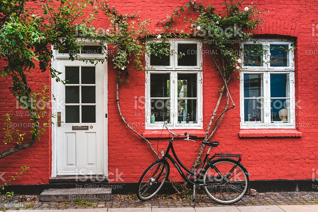 Street, wall and bike in Copenhagen stock photo