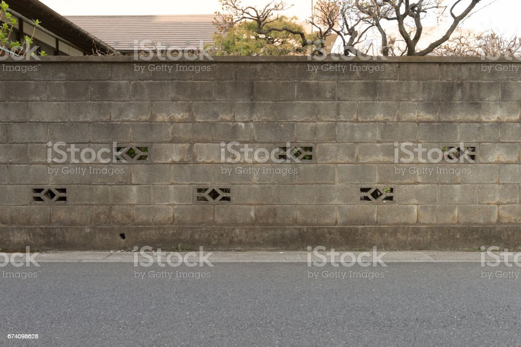 street wall background ,Industrial background, empty grunge urban street with warehouse brick wall royalty-free stock photo