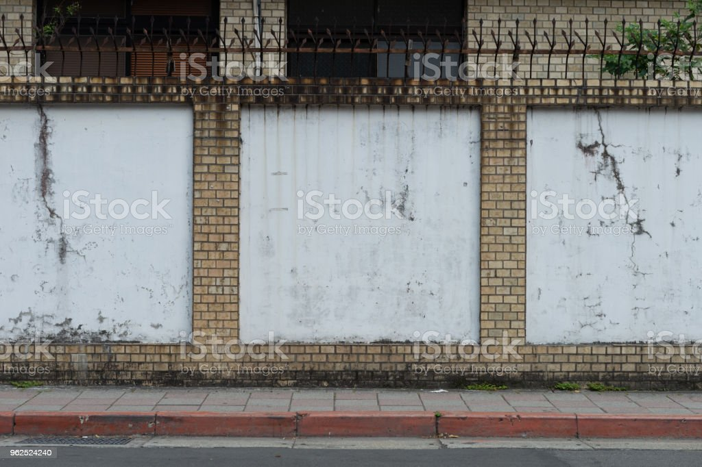 street wall background ,Industrial background, empty grunge urban street with warehouse brick wall - Royalty-free Abandoned Stock Photo