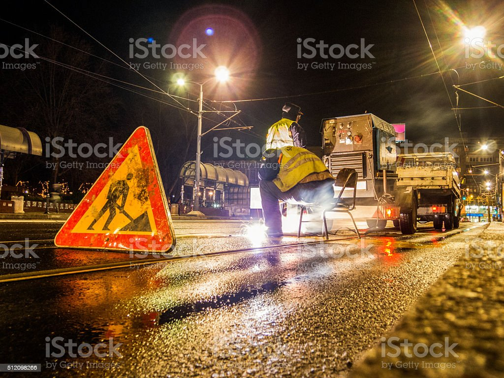 Straße Schweißer Arbeiten – Foto