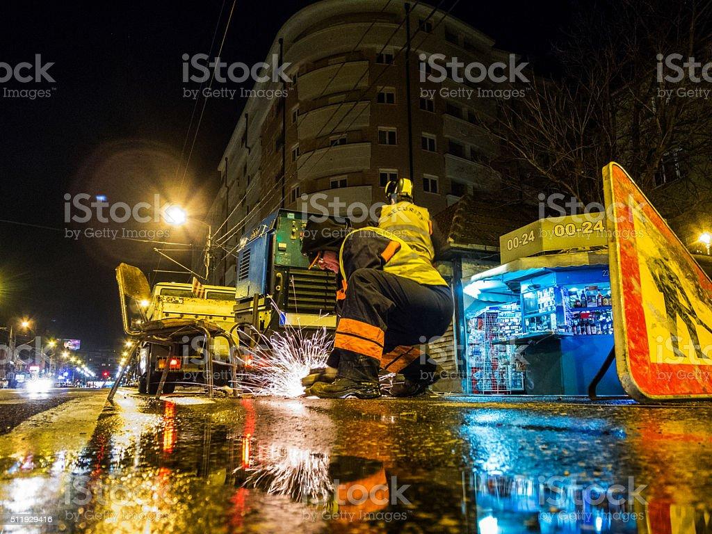 Street welding stock photo