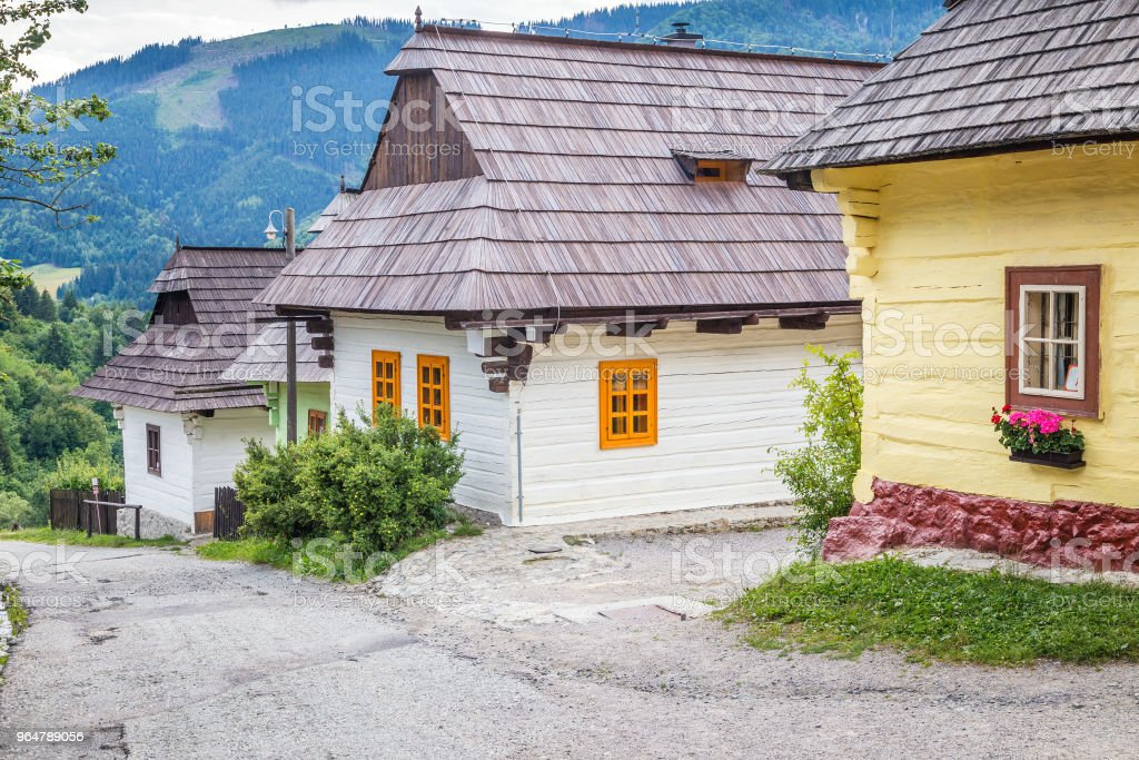 A street with ancient houses in the village of Vlkolinec. royalty-free stock photo