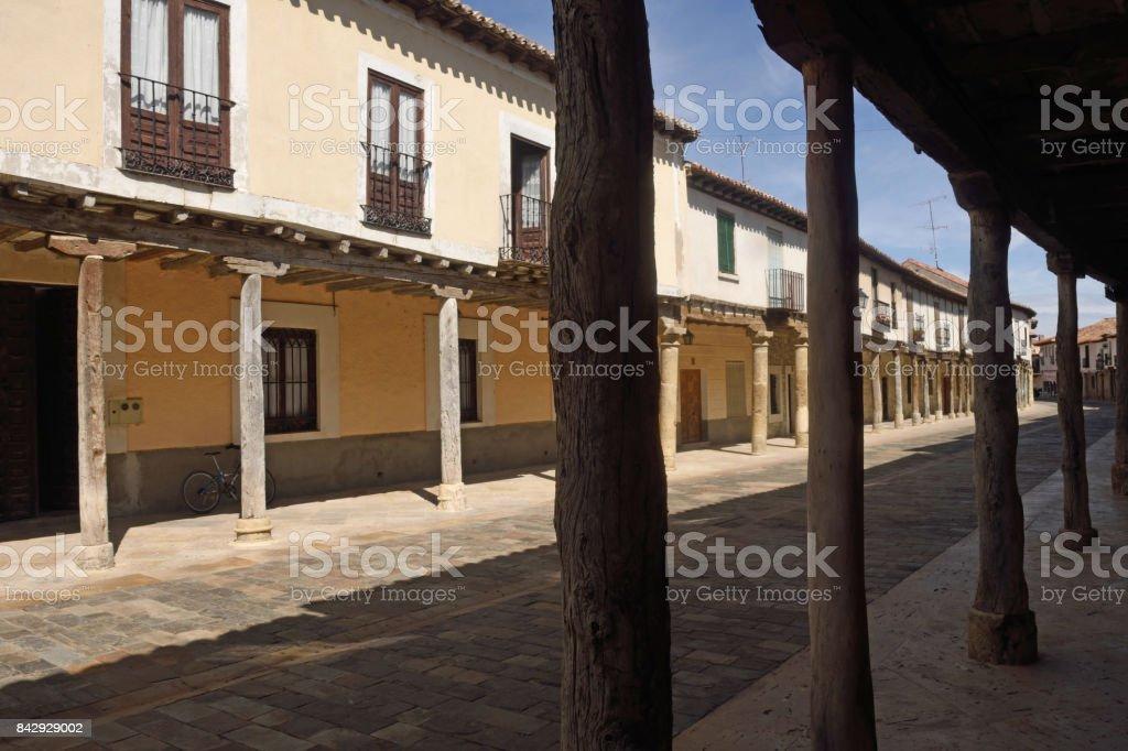 Street with arcades in Ampudia, Tierra de Campos, Palencia province, Castilla y Leon, Spain stock photo