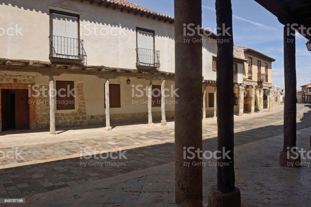 Street with arcades in Ampudia, Tierra de Campos, Palenciia province, Castilla y Leon, Spain stock photo