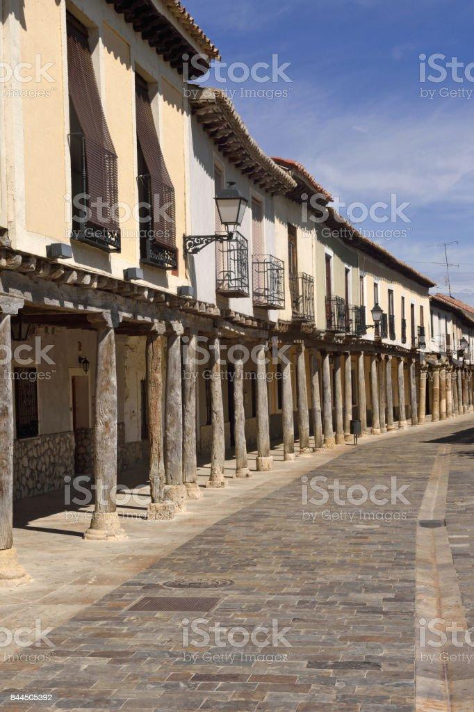 Street with arcades in Ampudia,  Tierra de Campos region,, Palenciia province, Castilla y Leon, Spain stock photo