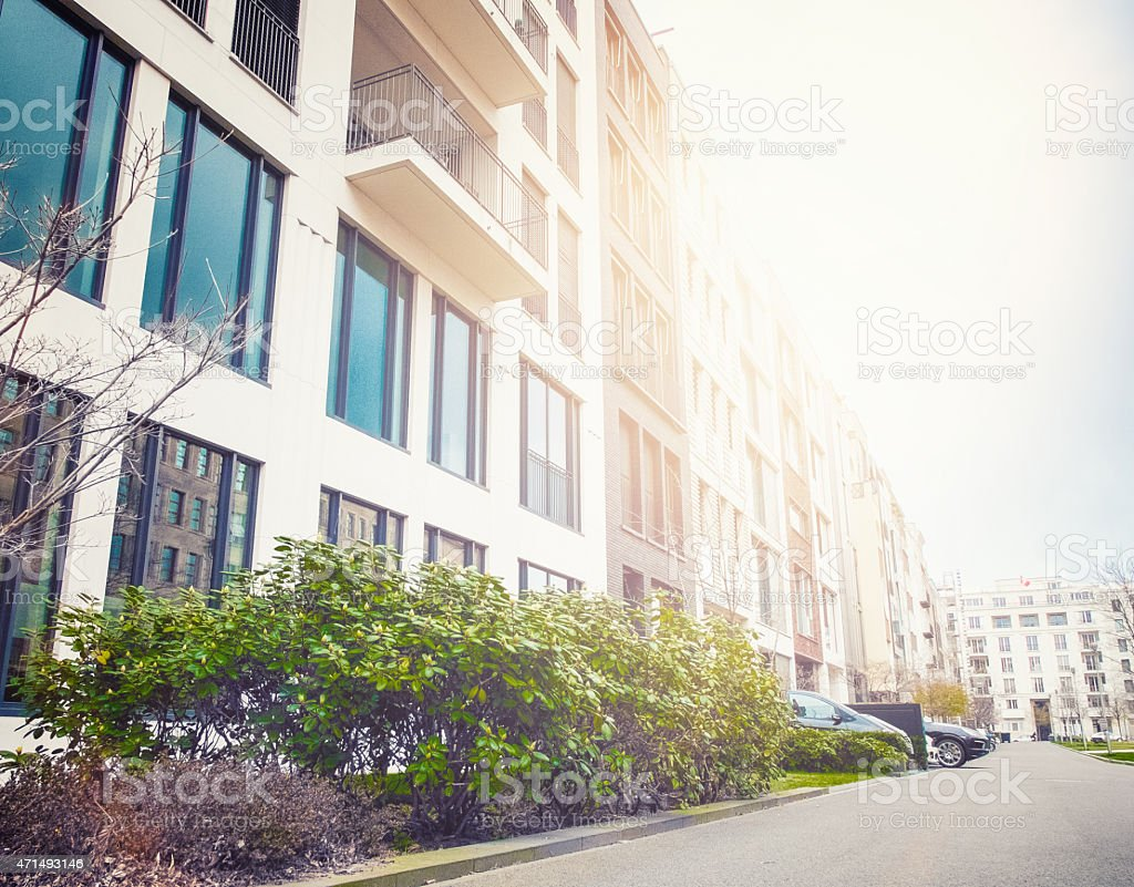 street with beautiful townhouses at berlin, germany stock photo