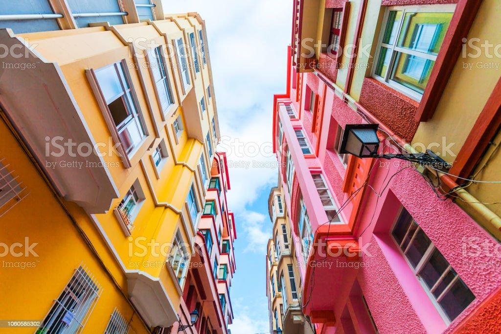 Street with colorful buildings - La Coruna, Galicia, Spain stock photo