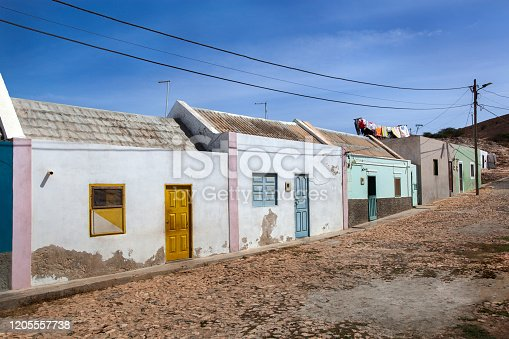 Street with colorful houses in Bofareira on the island Boa Vista of Cape Verde