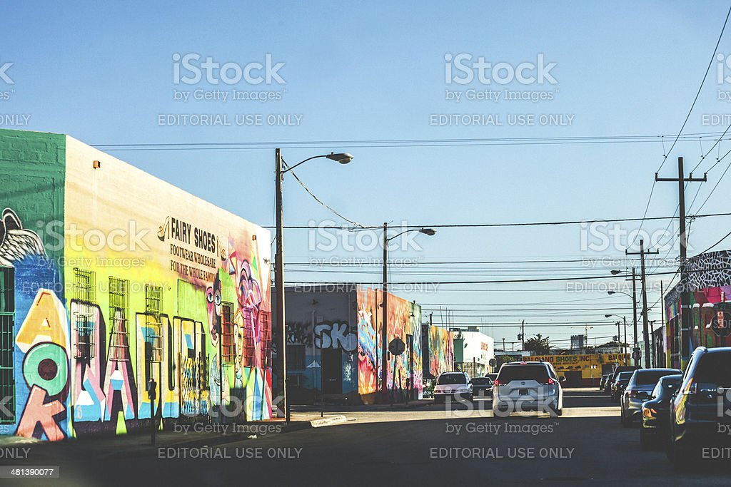 Street with colourful buildings. stock photo