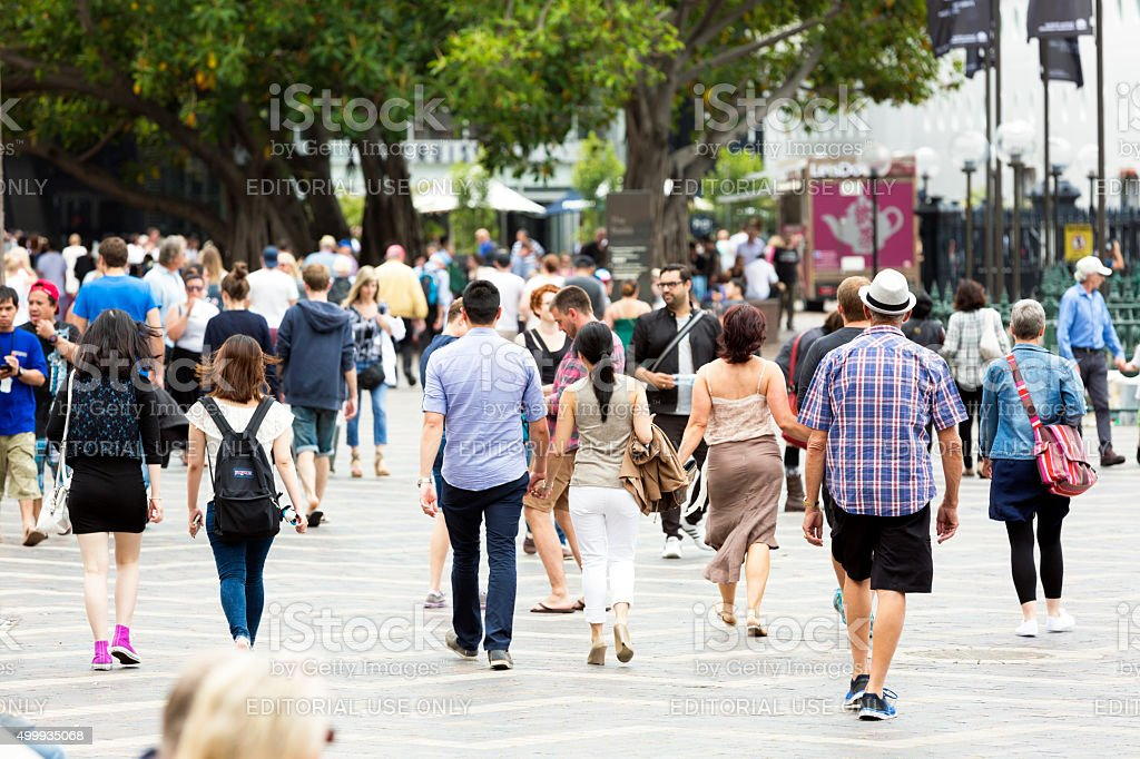Street with crowd of people, tourist and sightseers stock photo