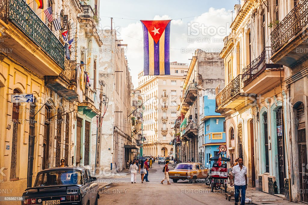 Street with Cuban flag in Havana stock photo