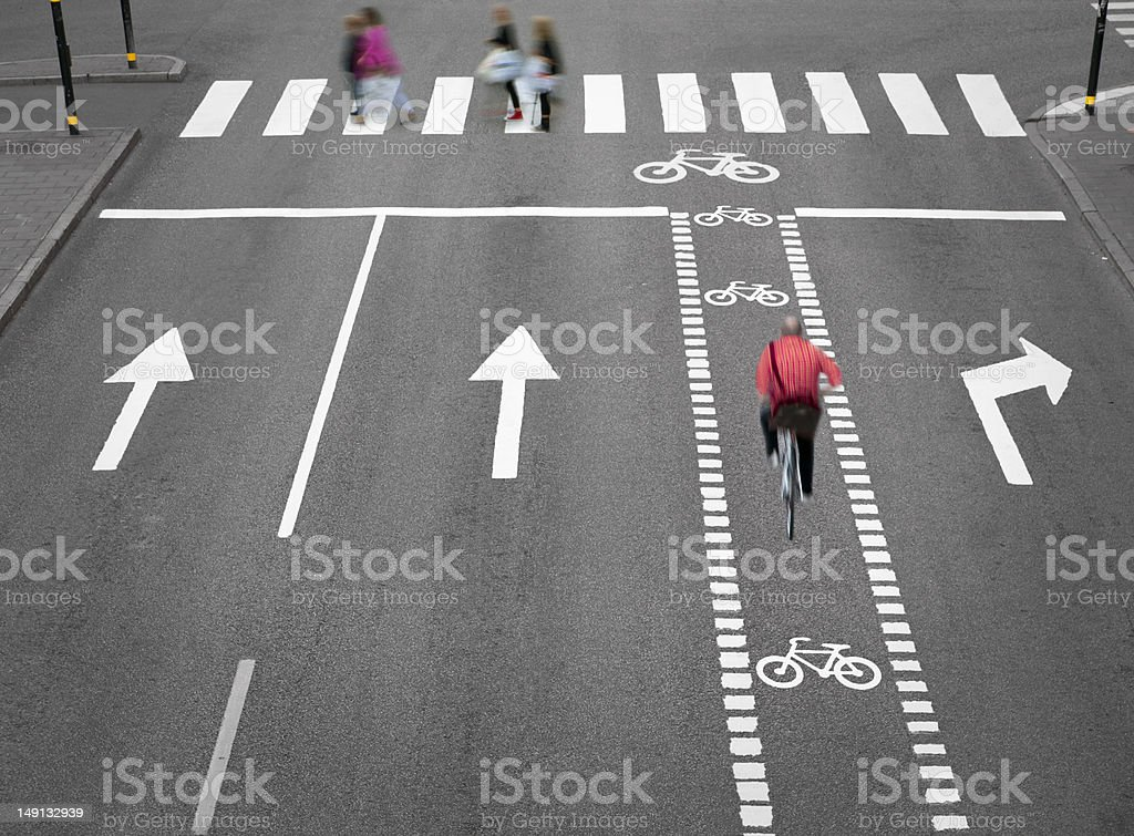 Street with cycling path stock photo