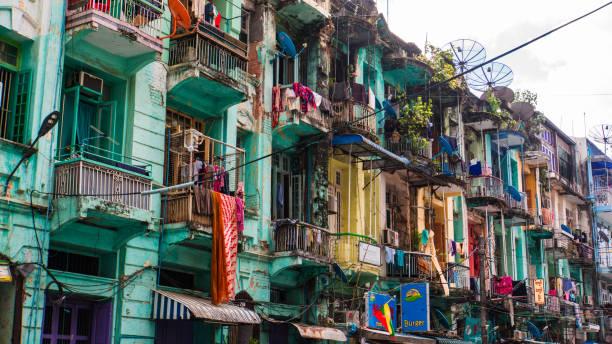 street with dwellings in Yangon, Myanmar, Burma stock photo