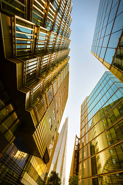 Street with financial buildings stock photo