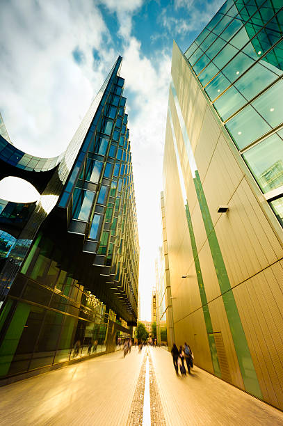 Street with futuristic financial buildings stock photo
