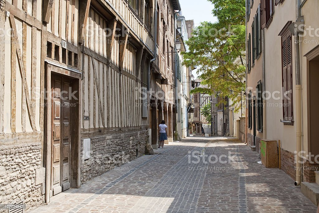 street with half-timbered houses in Troyes, France royalty-free stock photo