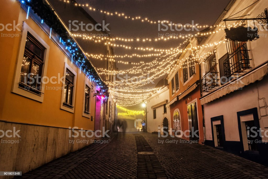 Street with historic houses, Szentendre, Hungary, Christmas time stock photo