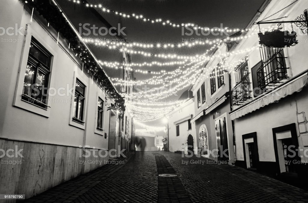 Street with historic houses, Szentendre, Hungary, colorless stock photo