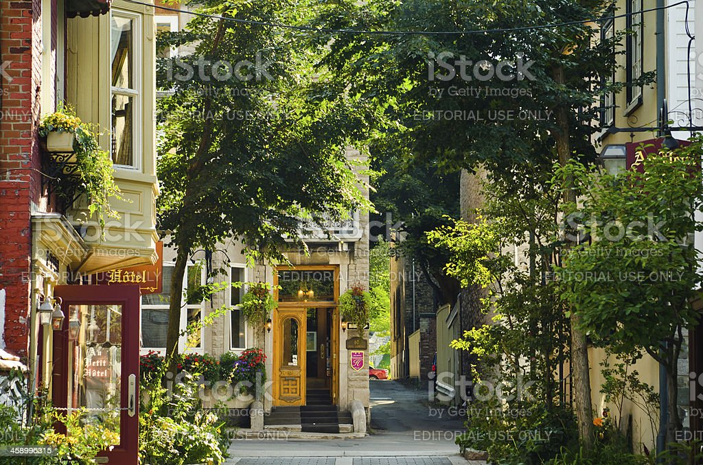 Street with hotels in Quebec City, Canada royalty-free stock photo