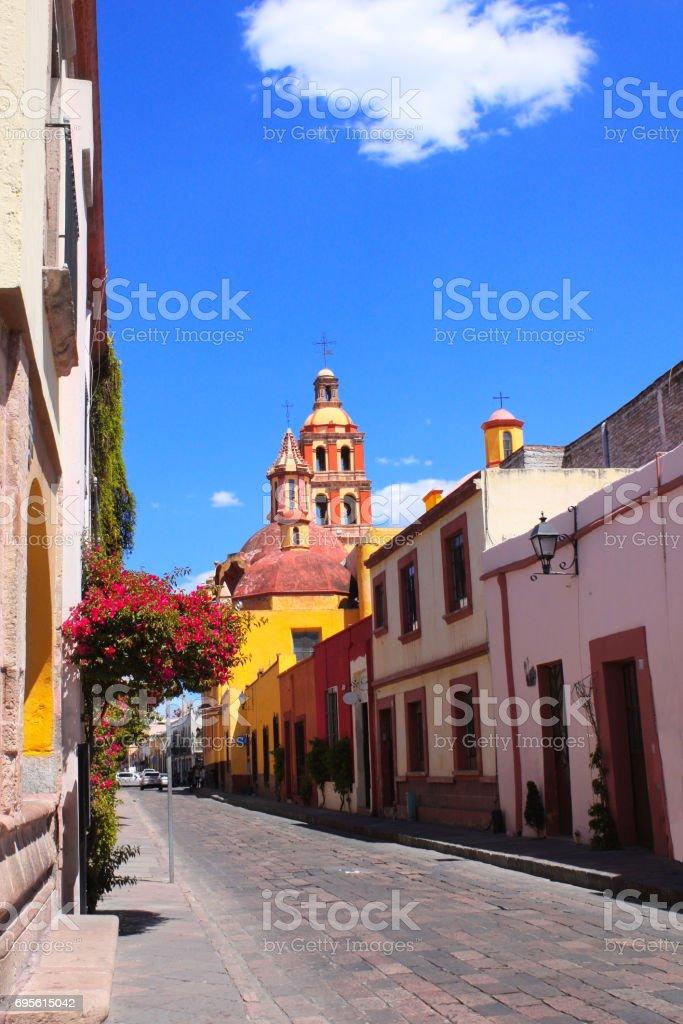 Street with medieval buildings, Queretaro, Mexico stock photo