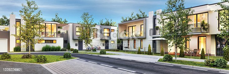 istock Street with modern and beautiful houses 1225226901