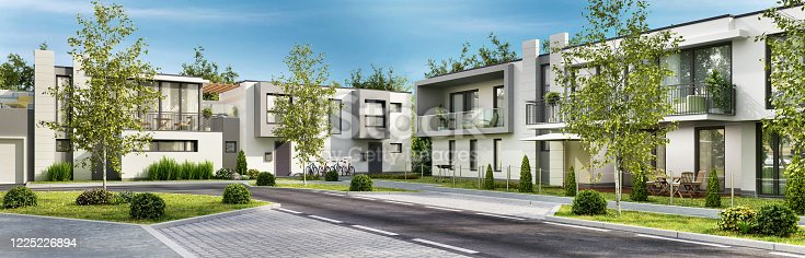 istock Street with modern houses 1225226894